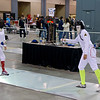 India Bhalla-Ladd (right) in the Youth-14 Women's Epee.