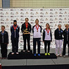 The finalists in the 2013 US Women's Sabre National Championship.  From left: Samantha Roberts (7th), Emma Keehan (5th), Ibtihaj Muhammad (2nd), Eliza Stone (1st), Monica Aksamit (3rd), Sophie Keehan (3rd), Gillian Litynski (6th), Kimberly Young (8th).