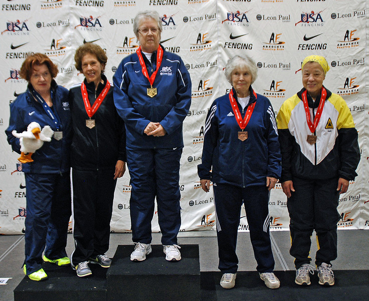 The finalists in Veteran-70+ Women's Epee.  From left: Diane Reckling (5th), Catherine Radle (2nd), Pat Bedrosian (1st), Ellen O'Leary (3rd) and Bettie Graham (3rd).