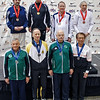 The finalists in Veteran-70+ Men's Epee.  Top from left: Peter Calderon (2nd), Ray Sexton (1st), James Adams (3rd), Marcel Miernik (3rd). Bottom from left: Barry Leonardini (7th), Mark Henry (5th), John McGrew (6th), Edmond Hon (8th).