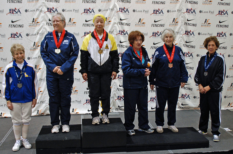 The finalists in Veteran-70+ Women's Foil.  From left: Judith Evans (5th), Pat Bedrosian (2nd), Bettie Graham (1st), Diane Reckling (3rd), Ellen O'Leary (3rd) and Catherine Radle (6th).
