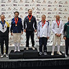 The finalists in Veteran-70+ Men's Epee.  From left: Barry Leonardini (7th), Mark Henry (5th), Peter Calderon (2nd), Ray Sexton (1st), James Adams (3rd), Marcel Miernik (3rd), John McGrew (6th) and Edmond Hon (8th).