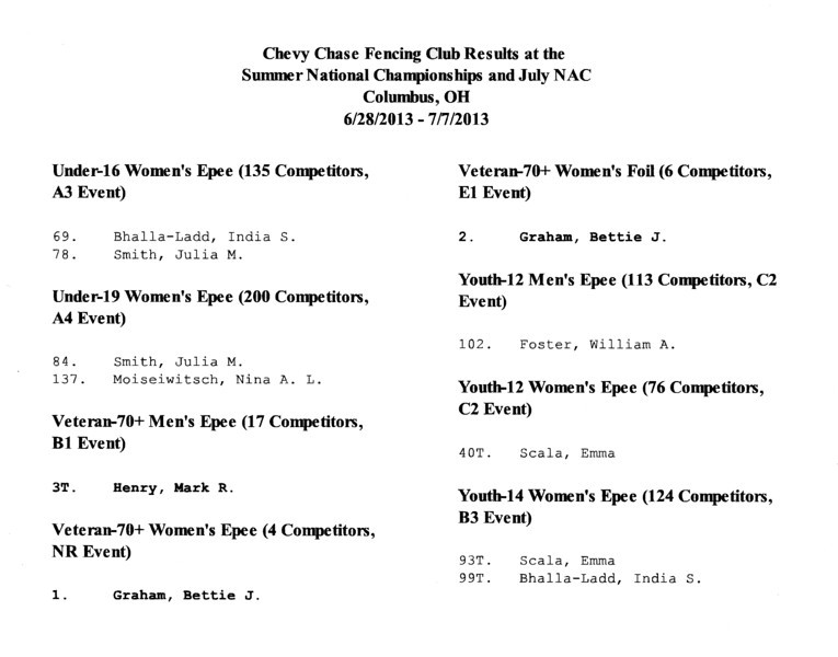 Chevy Chase Fencing Club results at the 2012-2013 Summer National Championships and NAC F in Columbus, Ohio.