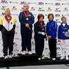 The finalists of the Veteran-70+ Women's Foil, from left: Bettie Graham (2nd), Patricia Bedrosian (1st), Diane Reckling (3rd), Ellen O'Leary (3rd, not pictured), Catherine Radle (5th), and Judith Evans (6th).