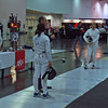 Julia Smith prepares to fence in the DE round of Under-16 Women's Epee.