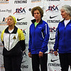 The finalists in Veteran-70+ Women's Epee.  From left: Pat Bedrosian (2nd), Bettie Graham (1st), Catherine Radle (3rd), and Ellen O'Leary (3rd).