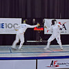 Bettie Graham (left) and Pat Bedrosian in the gold medal bout in the Veteran-70+ Women's Epee.