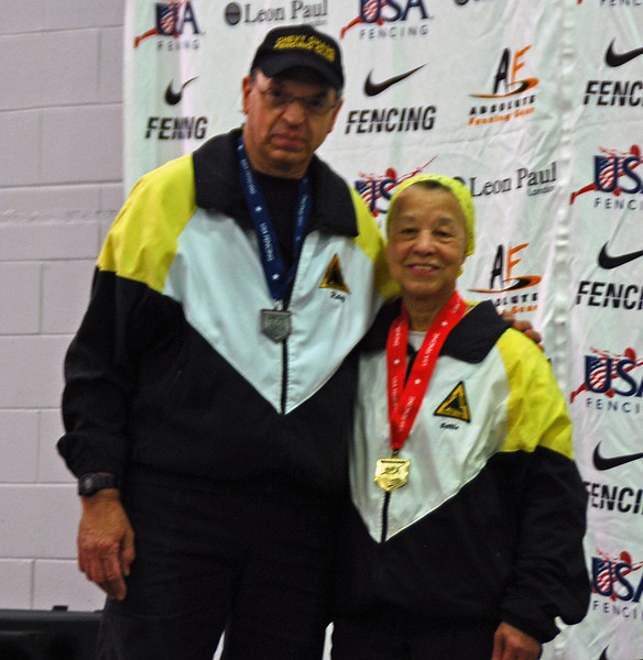 Fencing Master Raymond Finkleman and National Champion Bettie Graham.