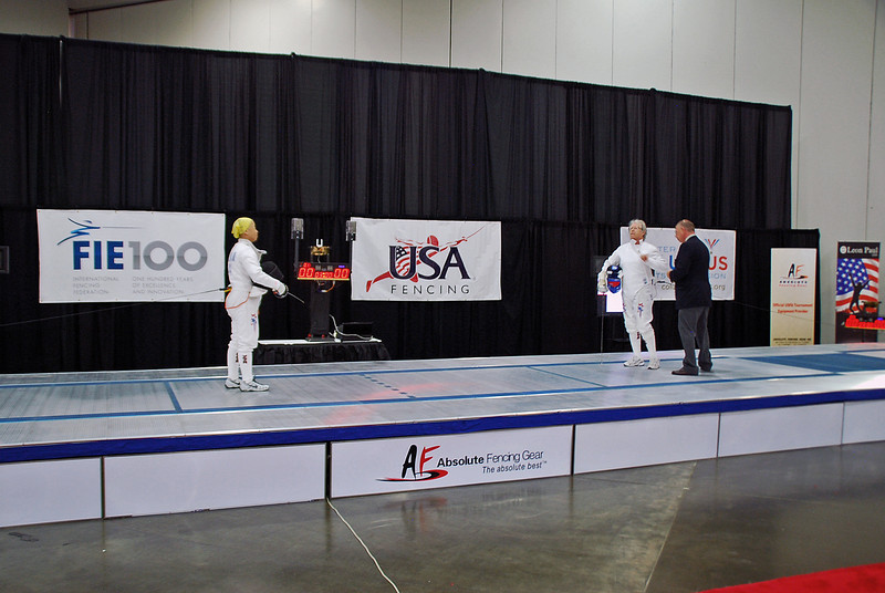 Bettie Graham (left) and Pat Bedrosian prepare for the gold medal bout in the Veteran-70+ Women's Epee.