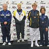 The finalists of the Veteran-70+ Women's Epee.  From left: Pat Bedrosian (2nd), Bettie Graham (1st), Sally Higgins (3rd), Catherine Radle (3rd), Diane Reckling (5th, not pictured).