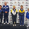 The finalists of the Veteran-70+ Women's Foil (from left):  Diane Reckling (2nd), Patricia Bedrosian (1st), Bettie Graham (3rd), Ruth Dodge (3rd), Catherine Radle (5th, not pictured), Judith Evans (6th).