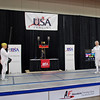 Bettie Graham in the gold medal bout of the Veteran-70+ Women's Epee vs. Pat Bedrosian.
