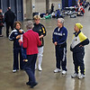 Carol Buerdsell explains the procedure for the presentation of medals for the Veteran-70+ Women's Epee.