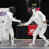 Bettie Graham (left) vs Pat Bedrosian in the gold medal bout of the Veteran-70+ Women's Epee.  (Photo by Nicole Jomantas, US Fencing.)
