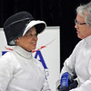 Bettie Graham celebrates her gold medal win with her opponent Pat Bedrosian.  (Photo by Nicole Jomantas, US Fencing.)