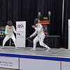 Bettie Graham, right, fencing in the DE round of 8 against Catherine Radle.