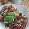 Cheryl's on 12th's breakfast of Portugese Fried Rice with chorizo, bacon and avocado.