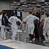 Emma Scala gathers with her pool at the start of the Cadet Women's Epee.