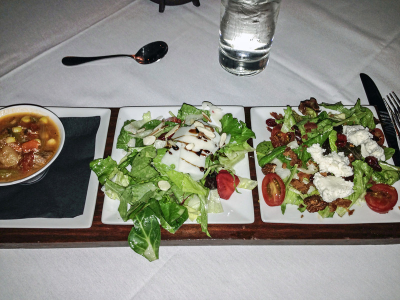 Salad flight (beef stew, strawberry salad, harves salad) at Flight Restaurant.