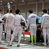 Raphael Hviding gathers with his pool at the start of Division I Men's Epee.