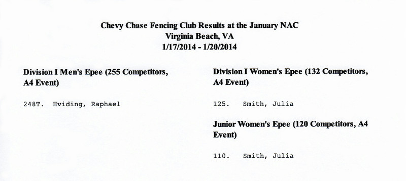 Chevy Chase Fencing Club results at the 2013-2014 January NAC in Virginia Beach, VA.