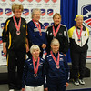 The finalists in Veteran-70+ Women's Epee.  Top row:   Sally Higgins (3rd), Patricia Bedrosian (3rd), Diane Kallus (1st), and Bettie Graham (2nd).  Bottom row:  Erica Julien (6th), Kathryn Rubin (5th),