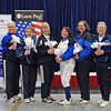 The finalists in Veteran-60 Women's Epee.  From left: Bonnie Aher (1st), Cynthia Runyon (2nd), Diane Kallus (3rd), Kathryn Rubin (3rd), Anna Estrada (5th), Sandra Schwartz (6th), Patricia Bedrosian (7th), and Bettie Graham (8th).