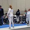 Olivia Morreale (right) fences a Canadian fencer in the Division II Women's Epee.