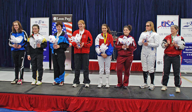 The finalists in Division II Women's Epee.  From left: Mason Speta (1st), Nina Moiseiwitsch (2nd), Kristina Troyanski (3rd), Emma McDaniel (3rd), Elizabeth Gilbert (5th), Alexa Fishman (6th), Suzanne Bloomer (7th), and Jeanne Thompson (8th).
