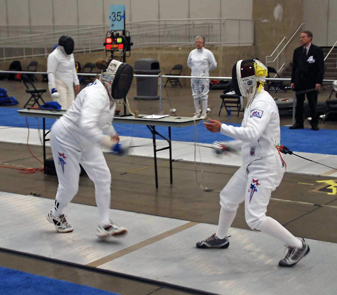Bettie Graham doubles with Diane Kallus in the Veteran-60 Women's Epee.