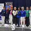 The finalists of the Veteran-60 Women's Foil.  From left: Joanne Stevens (1st), Patricia Lutton (2nd), Madelon Rosenfeld (3rd), Bettie Graham (3rd), Kerry Schaefer (5th), Ellen O'Leary (6th), Muriel Cawthorn (7th), Anna Mannino (8th).