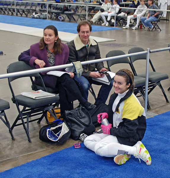 The Moiseiwitch's before the start of the Division II Women's Epee.