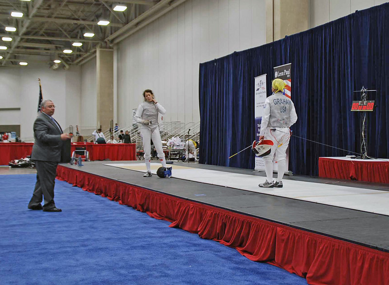Bettie Graham (right) in the semi-final bout of Veteran-60 Women's Foil.