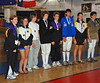 The finalists in the Y14 Mixed Epee.  From left, Meghan Herwig - 8th, Nina Moiseiwitsch - 7th, Alec Walker - 6th, Jesse Meyers - 5th, Conrad Sutter - 3rd, Xavier Whittaker - 3rd, Katharine Holmes - 2nd, Luke Hollenbeck - 1st.