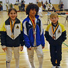 The finalists in Y10 Mixed Epee, from left: Elizabeth Wiggins (1st), Cole Srere (2nd), Carter Tate (3rd).  Not pictured: Miller.