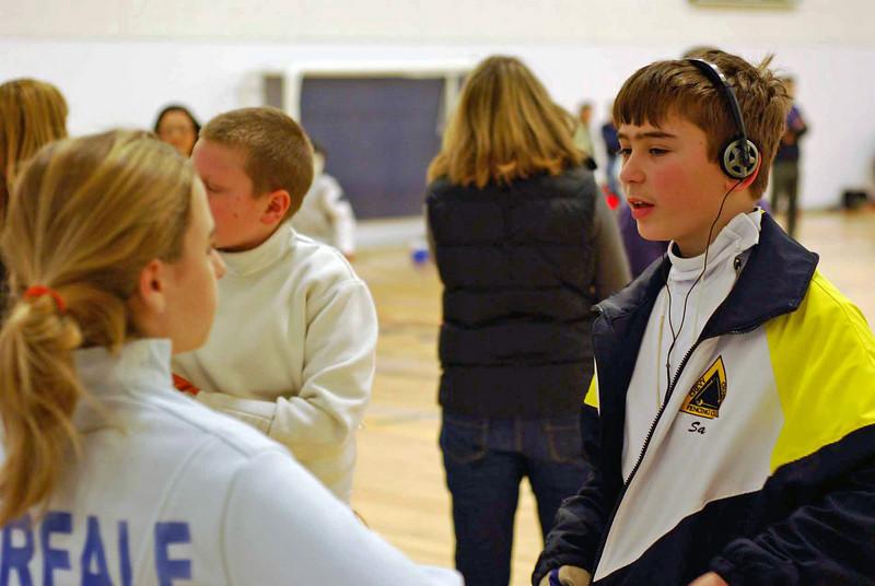 Sam Hayden (right) talks to Olivia Morreale. (Photo by Jeff Hayden.)