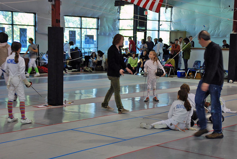 The Bowden sisters fence first in the Y10 Women's Epee.