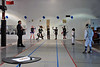 Prince William Fencing Academy has metallic strips, overhead reels and Favero machines with score and time.  The figures on the wall are various fictional characters with practice targets.