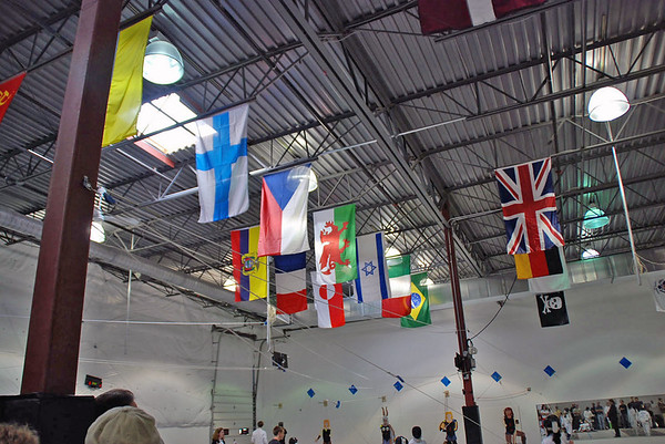 Some of the flags on display in the Prince William Fencing Academy.