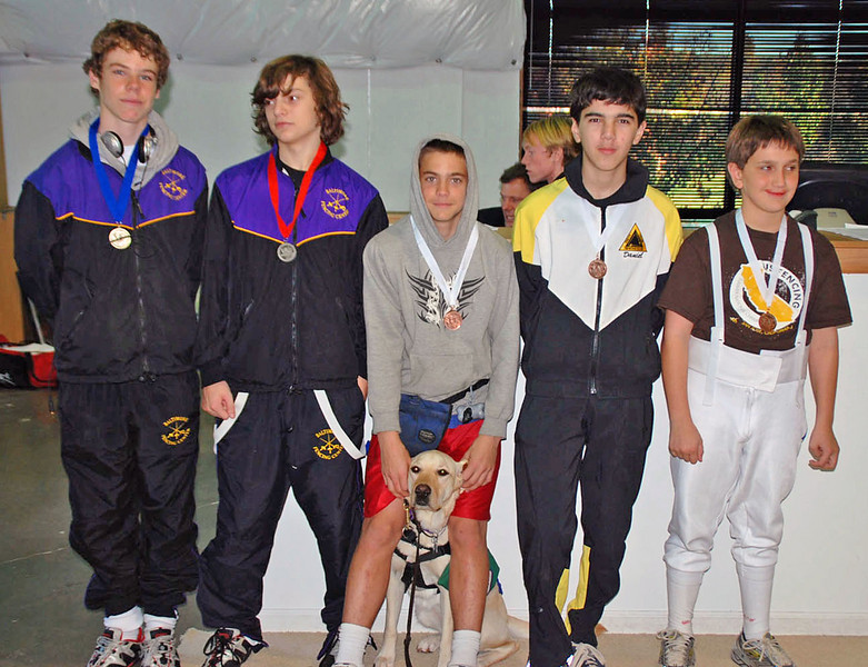 The finalists in the Y14 Men's Epee.  From left: Conrad Sutter (1st), Alec Walker (2nd), Nathan Selove (3rd), Daniel Wiggins (3rd), Brock Lively (5th).