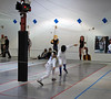 Olivia Morreale (left) scores in the Y14 Women's Epee.
