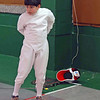 Levi Freedman hooks up to the reel in the Y10 Men's Epee.