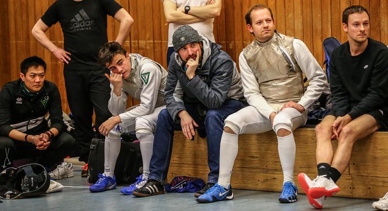 Christian HOSE (GER), Jörg Walter (GER), Felix SEEMANN (GER); Deutschlandpokal 2. Runde DfC Düsseldorf vs. CTG Coblenz (26-45) am 15.2.19