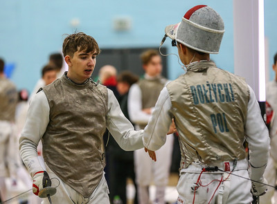 "London Great Britain - November 3rd, 2018; Impressions of the ""Eden cup"", a male/female junior foil world cup.  In photo: Joey KOEHLER GER, Jakub DOLZYCKI POL,  Photo by: Jan von Uxkull-Gyllenband"