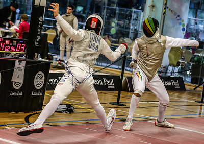 "London Great Britain - November 3rd, 2018; Impressions of the ""Eden cup"", a male/female junior foil world cup.  In photo: Nick ITKIN USA  Photo by: Jan von Uxkull-Gyllenband"