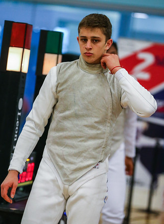 "London Great Britain - November 3rd, 2018; Impressions of the ""Eden cup"", a male/female junior foil world cup.  In photo: Nick ITKIN USA,  Photo by: Jan von Uxkull-Gyllenband"