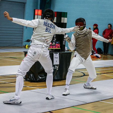 """London Great Britain - November 3rd, 2018; Impressions of the """"Eden cup"""", a male/female junior foil world cup.  In photo: Ian NEILSON BUL,  Markus PRAUS GER,  Photo by: Jan von Uxkull-Gyllenband"""