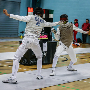 "London Great Britain - November 3rd, 2018; Impressions of the ""Eden cup"", a male/female junior foil world cup.  In photo: Ian NEILSON BUL,  Markus PRAUS GER,  Photo by: Jan von Uxkull-Gyllenband"
