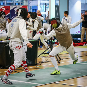 "London Great Britain - November 3rd, 2018; Impressions of the ""Eden cup"", a male/female junior foil world cup.  In photo: SMREKAR Leo CRO, Joey KOEHLER,  Photo by: Jan von Uxkull-Gyllenband"
