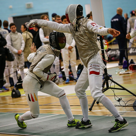 """London Great Britain - November 3rd, 2018; Impressions of the """"Eden cup"""", a male/female junior foil world cup.  In photo: Joey KOEHLER GER,  Photo by: Jan von Uxkull-Gyllenband"""